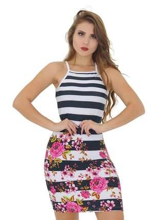 Vestido tubinho curto sem mangas. ref:020(branco/preto/rosa)