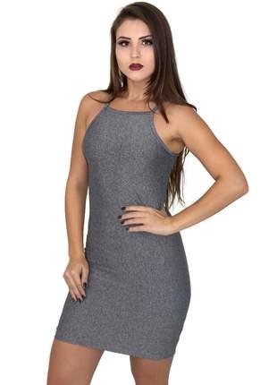 Vestido tubinho curto sem mangas. ref:020(cinza-escuro)