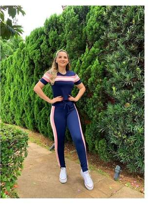 Conjunto calça e blusa malha crepe  feminina roupa promoção