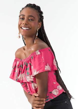 Blusa ciganinha floral rosa feminina 61521051577