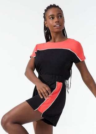 Conjunto blusa e short feminino preto/coral 61551457539