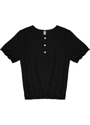 Blusa preta feminina canelada franzido 61553157539