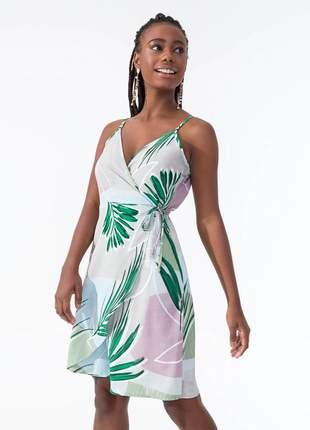 Vestido transpassado feminino colorido 61558451209