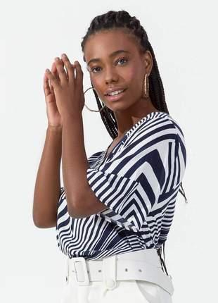 Camisa feminina listrada azul manga curta 61553855600