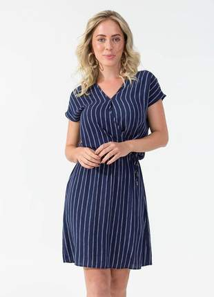 Vestido feminino azul escuro amarração cintura 6155375600