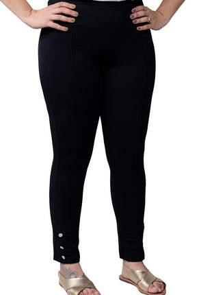 Calça feminina plus size cintura alta levanta bumbum preta