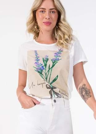 T-shirt off white flores feminina 6154245022