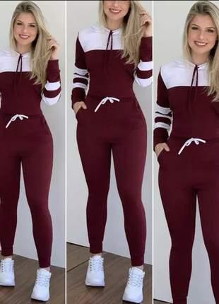 Conjunto calça e blusa malha crepe moda blogueira listra nas mangas