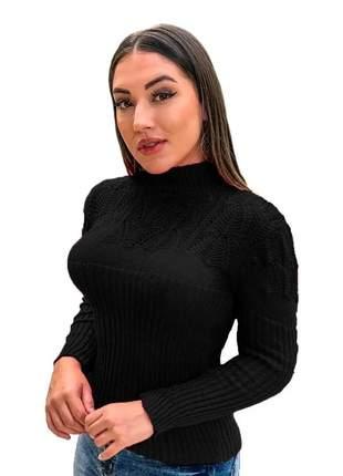 Compartilhar:  blusa suéter tricot cardigan detalhada gola alta r:989 (preta)
