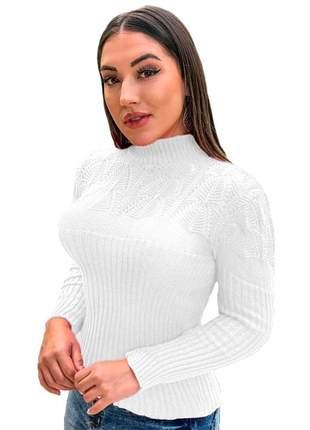 Blusa suéter tricot cardigan detalhada gola alta r:989 (branco)