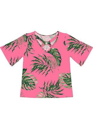 Blusa feminina rosa floral manga curta 61552651625