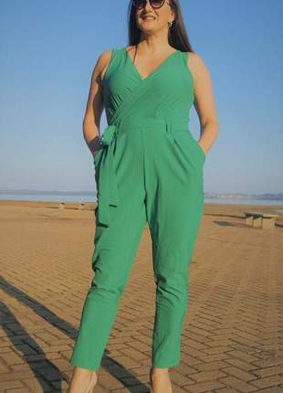 Macacão feminino longo verde