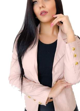 Blazer feminino em bengaline botões dourados na manga moda atriz