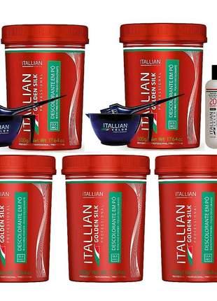 Combo itallian color descoloração profissional 5 pó golden silk + 1 oxi + brinde