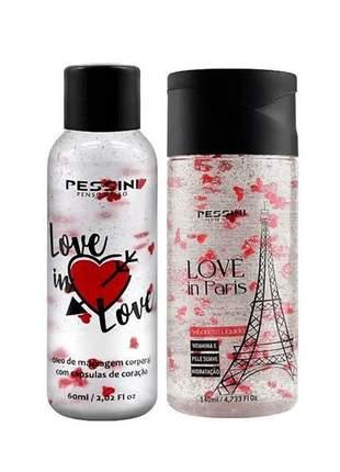 Kit love in paris pessini oléo de massagem + sabonete líquido 140ml