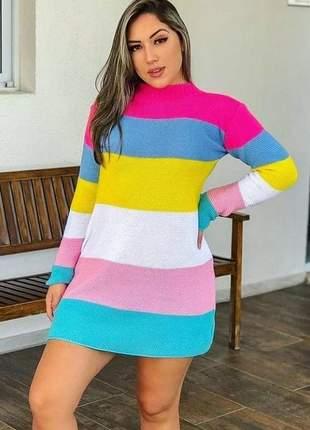 Vestido de tricot colorido