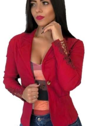 Casaquinho feminino casaco blazer bengaline com renda