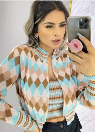 Casaco frio em moda tricot conjunto balaozinho