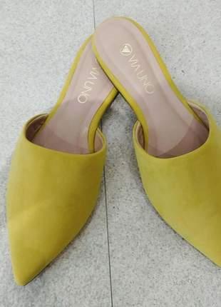 Sapatilha feminina mule amarela dali shoes