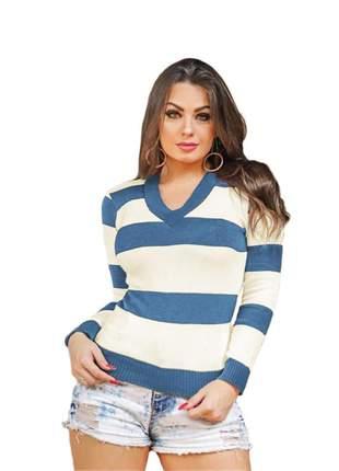 Blusa tricô tricot listrada feminina suéter gola v ref:954(azul-aço)
