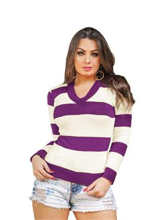Blusa tricô tricot listrada feminina suéter gola v ref:954(roxo)