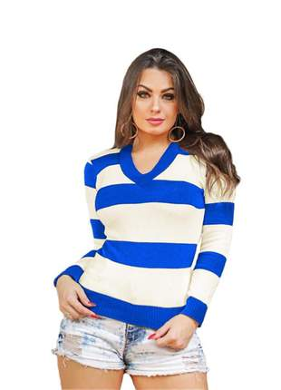 Blusa tricô tricot listrada feminina suéter gola v ref:954(azul-royal)