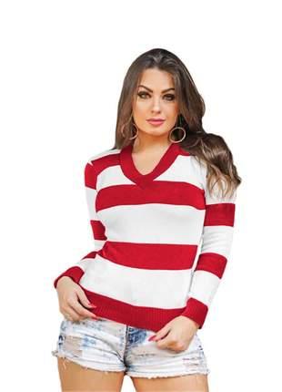 Blusa tricô tricot listrada feminina suéter gola v ref:954(vermelho)