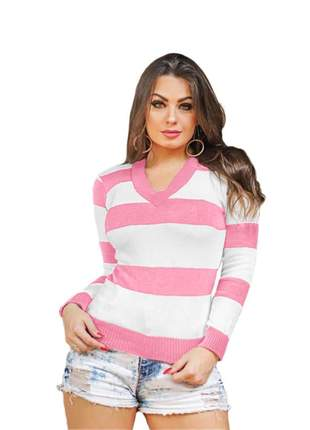 Blusa tricô tricot listrada feminina suéter gola v ref:954(rosa)