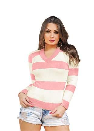 Blusa tricô tricot listrada feminina suéter gola v ref:954(salmão)