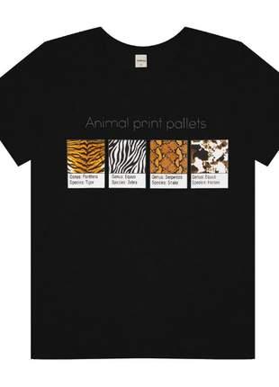 T-shirt preta animal print feminina 61542557539
