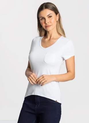 Blusa feminina branco bolsinho 915255000