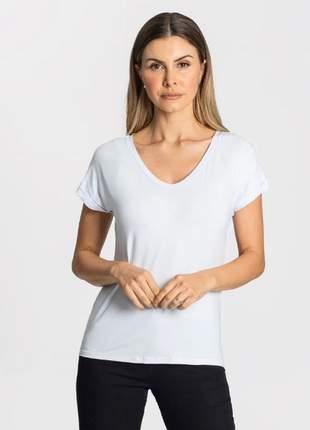Blusa básica decote v branca feminina 915215000