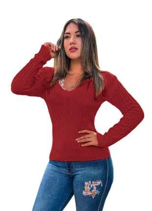 Blusa cardigan tricot trançadinho feminina ref:983(vermelho)