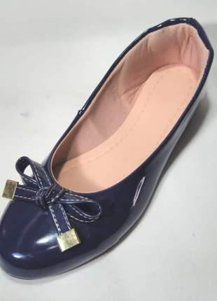 Sapatilha Menina Azul Laço Bico Redondo