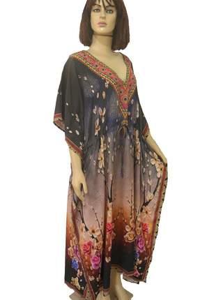 Vestido longo kaftan indiana estampada g/gg/xg