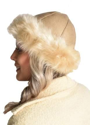 Gorro feminino tradicional pelo sintético pele sul alta preto