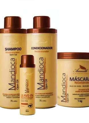 Kit mandioca aramath tratamento pós quimica (4 produtos)