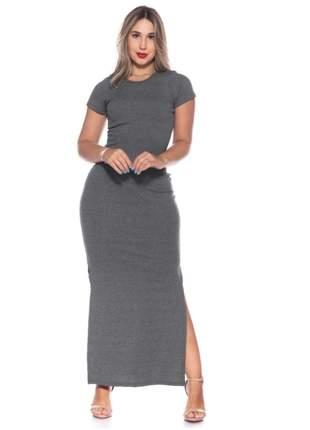 Vestido longo canelado manga fenda lateral moda evangélica