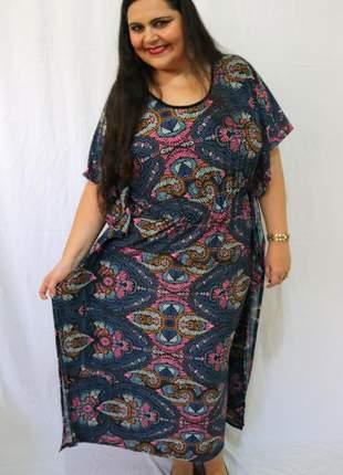 Kaftan longo de malha vestido longo plus size de mangas