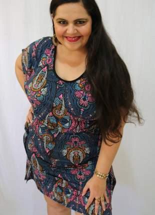 Kaftan curta estampada - vestido curto plus size - caftan indiana