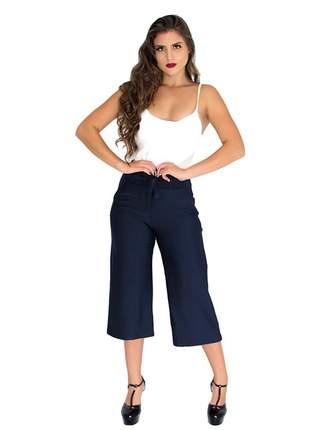 Calça pantacourt pantalona listrada e lisa ref 092(azul-marinho)