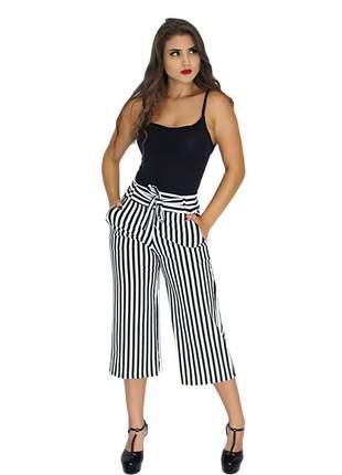 Calça pantacourt pantalona listrada e lisa ref 092(branco/preto)