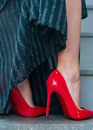 Sapato vermelho verniz scarpin bico fino brilhoso com sola vermelha e salto alto 12 cm