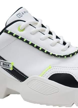 Tênis sneaker feminino branco neon ramarim 2082231