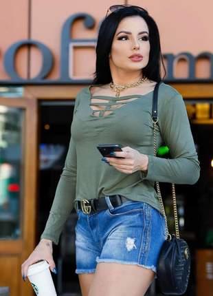 Blusinha blusa manga longa decote em v com tiras moda outono inverno tendência blogueira