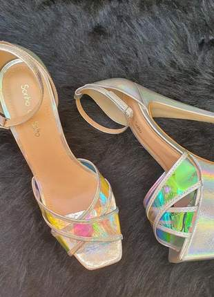 Sandália meia pata salto fino unissex vinil bico quadrado reto