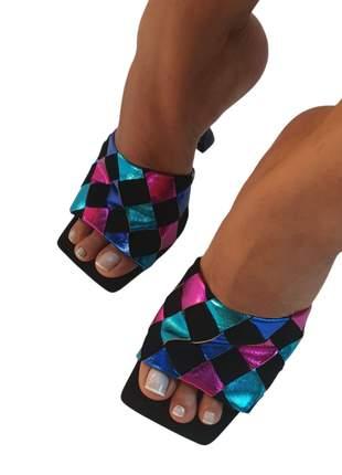 Tamanco feminino mule salto taça médio bico quadrado reto preto