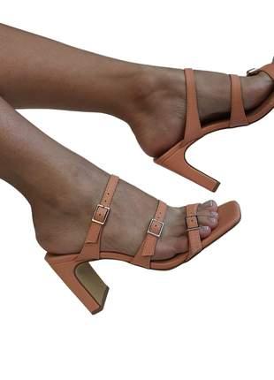 Tamanco mule feminino salto médio reto bico quadrado fecho