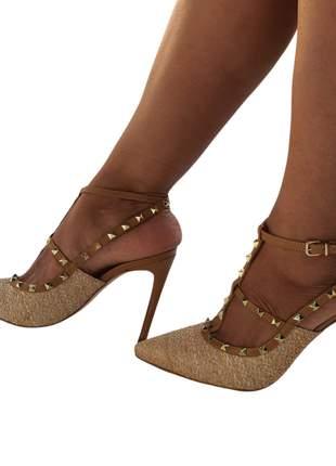 Sapato scarpin feminino couro bico fino salto alto conforto