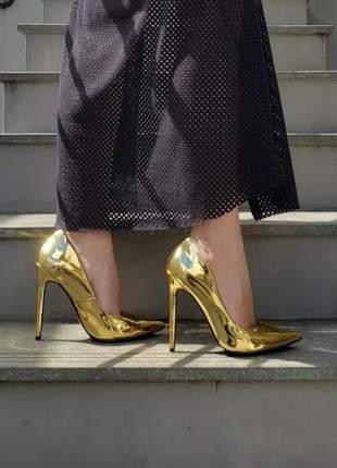 Sapato sola vermelha dourado brilhoso scarpin bico fino salto alto 12 cm calçado feminino